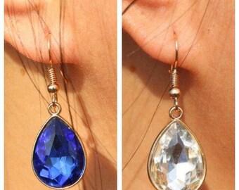 Tear Drop earrings • Clear Tear drops • Blue Tear drops • Gold Drop earrings • Bridesmaid earrings • Everyday earrings • Bridal