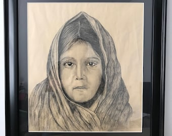 Original Charcoal drawing by RusticWorksByEdna