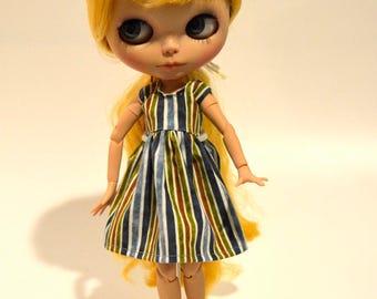 Blythe dress, Blythe striped dress, Blythe clothing, Blythe clothes, Blythe outfit, Blythe accessories, Eclectic Wandering handmade