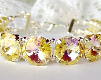 Doppelstrang Elfenbein Perlenarmband / gelb Swarovski Strass / Geschenk für sie / Muttertag / unique Armband / Freundin-Geschenk