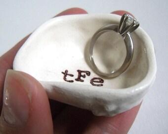 handmade CUSTOM RING DISH customizable text color & luster rim wedding ring holder engagement ring dish anniversary gift bridal shower gift