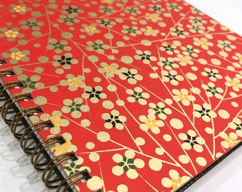 Ruled Journal - Red & Gold Asian Blossoms