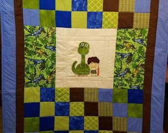 Dinosaur and caveman(Bam Bam) toddler quilt/stroller or car seat cover/activity,play,nap mat
