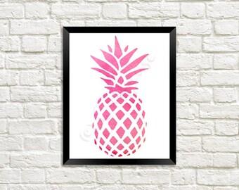 Pink Watercolor Pineapple Digital Print 8 x 10