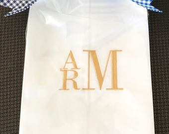 White Linen Hemstitch Guest Towel with Bold 3 Letter Monogram