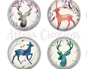 Watercolor Deer Coasters, Drink Coasters, Set of 4 Coasters