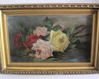 Antique Oil Painting Roses Canvas Framed Signed So Shabby
