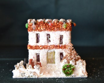 SALE - Vintage Christmas Glitter Putz House ( Was 19.00 - Now 15.00)