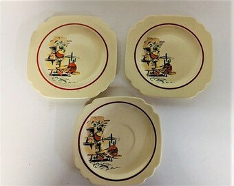 Homer Laughlin Hacienda Bread and Butter Plates and Saucer Vintage Decal of Outside Hacienda and has Red Rim