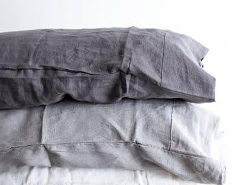 100% Pure Linen Pillowcases - Charcoal