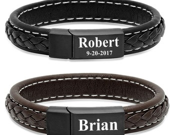 Personalized Genuine Leather Bracelet with Stainless Steel (Black or Brown)