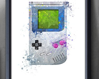Game Boy Controller Watercolor Print - Video Game Poster - Retro Poster - Playroom Art - Nursery Print - Console Poster - Man Cave Decor