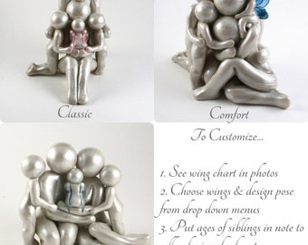 Custom Family of 5 baby memorial sculpture - Choose from 3 poses, Customize wings and Siblings' ages