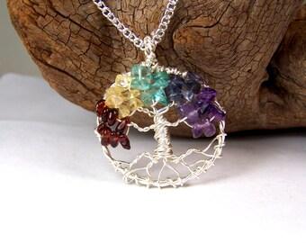 Rainbow Tree of Life necklace pendant with chain - Garnet Citrine Aquamarine Iolite Amethyst - Non tarnish silver alloy - handmade in USA