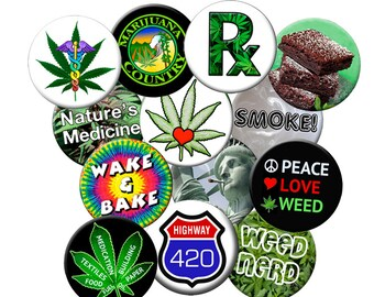 """BAKERS DOZEN 1.25"""" Pin Pack #2 - 13 Cannabis-420 -Weed-Pot Related Pins - Pack of (13) 1.25"""" MARIJUANA themed Pin-Back Buttons"""