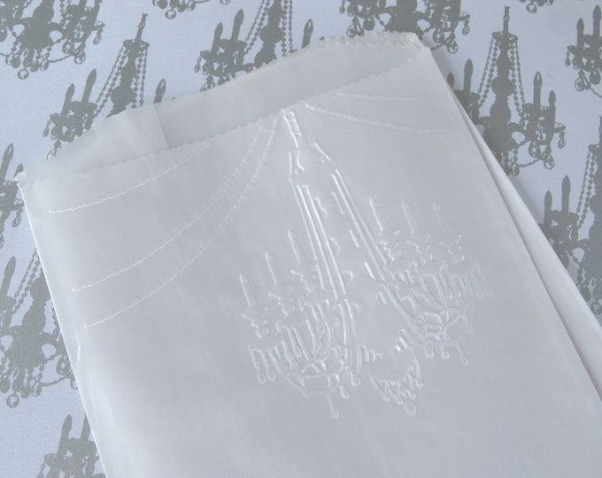 Chandelier Glassine Bags, Embossed Paper, Favors, Princess Favors, Wedding, Candy or Treats, Merchandise Bags 10 bags