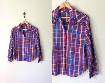 Vintage PANHANDLE SLIM Shirt • 1970s Western Clothing • Long Sleeve Ruffled Plaid Button Up Pearl Snap Top Blouse • Women size Small Medium