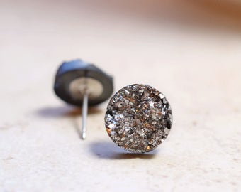 Dark Gray Druzy Earrings, Gunmetal Grey Metallic Glitter Faux Drusy Posts, Glittering Stainless Steel Studs, 12mm Rounds