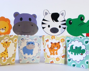 Set of  6 PARTY POPCORN BOXES. Theme little Jungle. Children's party. Candy bar. Sweet table. Sweet buffet