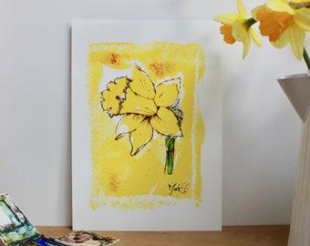 Yellow daffodil A4 Print