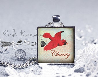 Charity - Cardinal Square Glass Tile Pendant Necklace