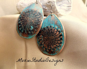 Rustic Turquoise Blue Dandelion Earrings, Copper Boho Earrings,  Unique Earrings, Bohemian Earrings, Boho Earrings, Etched Copper Earrings