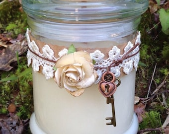 Wood Wick Soy Candle Vintage Rose, Heart, and Key Design