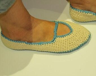 Hand made crocheted slipper, blue and cream
