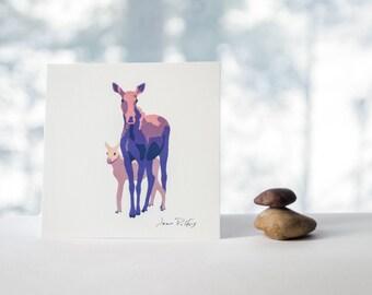 Mother moose drawing, wildlife art, Mother's day gift, wild animal, woodland animal, nursery wall art, forest animals, moose illustration