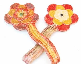 Vintage Wall Pottery | Ceramic Flowers | Spoon Holders | Flower Decor | Retro Kitchen Art | Wall Hanging | Spoon Rest | Italian Pottery