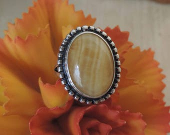 Vintage Yellow Jasper  Sterling Silver Ring Size 6