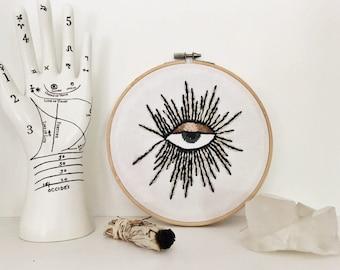 all seeing eye embroidered hoop art