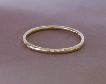 14k Gold Stacking Ring, Hand Hammered 14k Recycled Yellow Gold, 1.3 mm