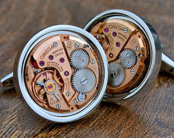 Omega Watch Movement Cufflinks - Silver