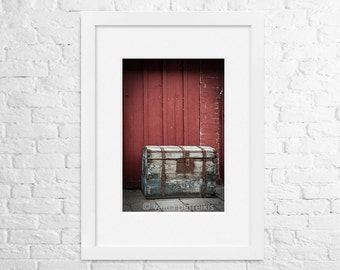 Rustic home decor - Old chest 4x6 fine art photo print - Vintage wooden storage box near an old wall - Marsala red ark wall art
