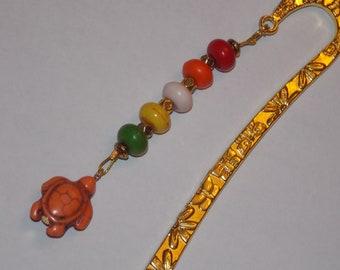 Orange Magnesite Turtle Rainbow Magnesite Golden Bookmark