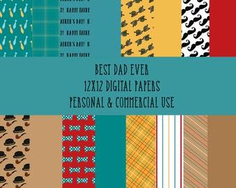 Best Dad Ever 12x12 Digital Paper Pack