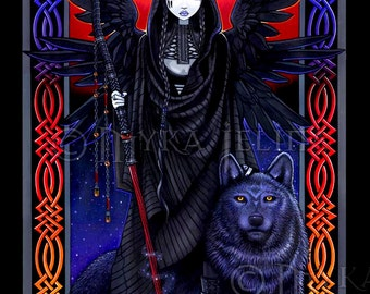 Gothic Guardian Angel Celestial Eclipse Wolf Rayvnwolf 8x10 Signed PRINT