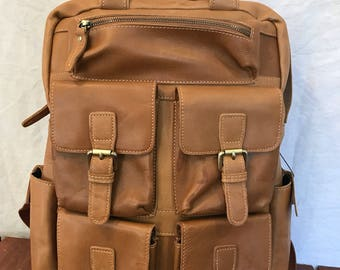 Great Vintage Genuine Custom Made Tan Leather Rugged Rucksack Backpack Bag Multipockets