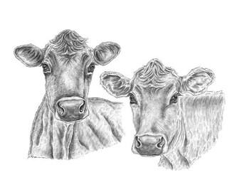Cow Print, Farm Animal Art, Animal Print, Animal Art, Farm Decor, Farm Animals, Cow Wall Decor, Cow Decor, Animal Drawing, Animal Art Print