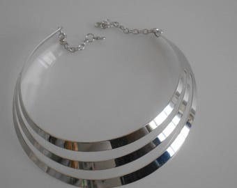 Silver necklace MULTISTRAND metal 110 mm x 30 mm