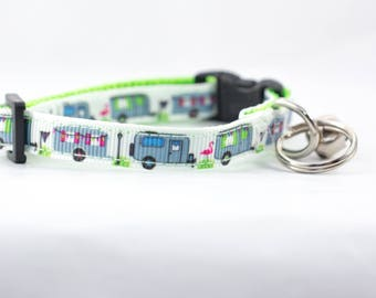 "Camper Cat Collar - 3/8"" wide - rustic Cat Collar - breakaway cat collar - safety buckle cat collar - camping cat collar - lime collar"