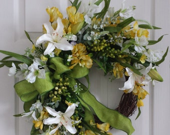Easter lily yellow spring door wreath spring French country yellow door wreath front door decor wreath summer wreaths spring green wreath
