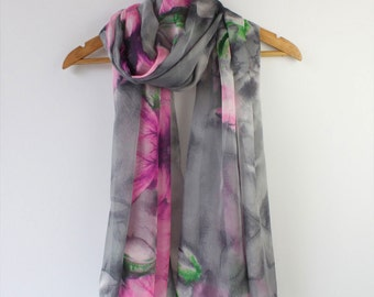 Gray Floral Silk Chiffon Scarf  - Orange Floral Silk Scarf - Floral Orange Silk Scarf - Floral Silk Scarf - AS2015-45