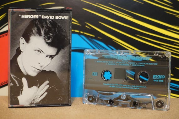 Heroes (RARE RYKO Pressing) by David Bowie Vintage Cassette Tape