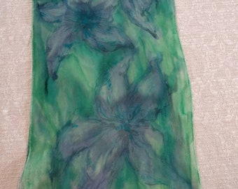 Hand painted silk scarf, floral silk scarf, Green-Purple silk scarves, nature inspiration- chiffon silk, ready-to-ship, free shipping