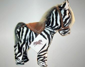 Plush Pony,  stuffed pony, toy pony, stuffed toy, stuffed animal, heirloom pony, pony and story, Zeb coloring book, plush zebra,
