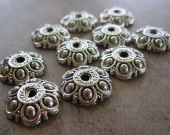 100 Antiqued Silver-Plated Pewter Bead Caps, 13x13mm Flower - JD5