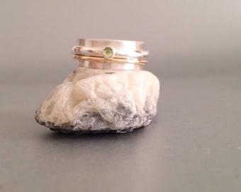 Peridot Ring - Mixed Metal Ring - Wide Silver Ring