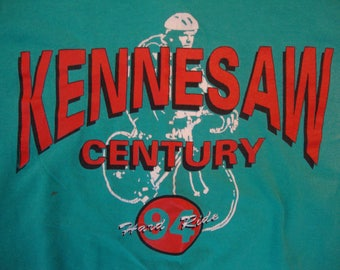Vintage 90's Kennesaw Century Hard Ride 1994 Bicycles Green T Shirt Size XL